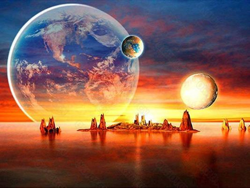 5D Diamond Painting Planets Above the Sea Kit