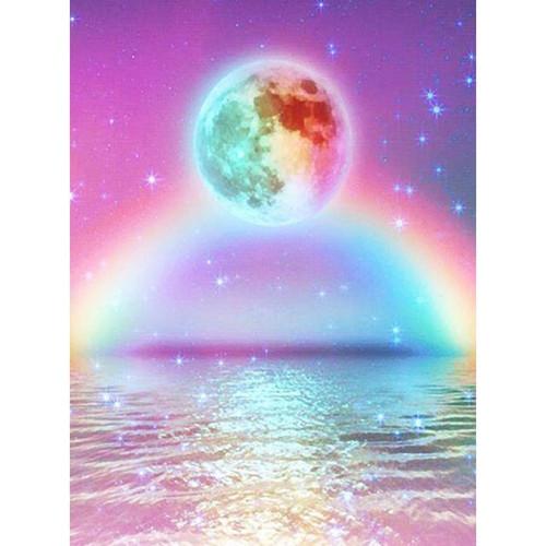 5D Diamond Painting Rainbow Galaxy Moon Kit