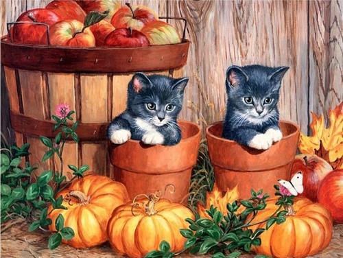 5D Diamond Painting Two Kittens in Pots Kit