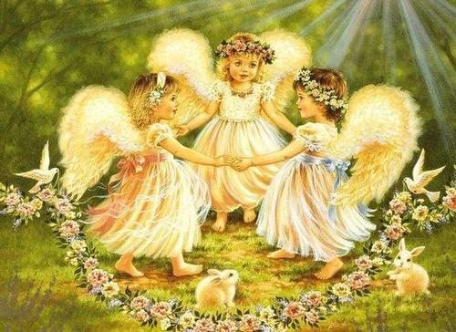 5D Diamond Painting Flower Garland Angels Kit