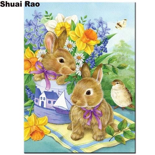 5D Diamond Painting Rabbits and a Bird Kit