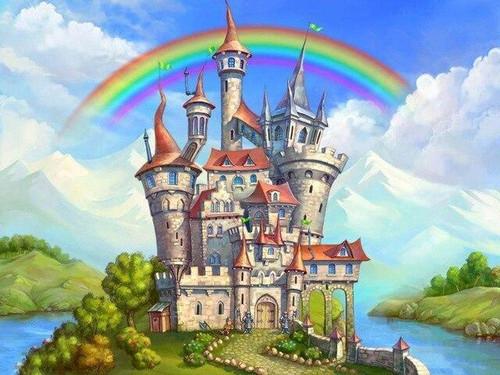5D Diamond Painting Rainbows Over the Castle Kit