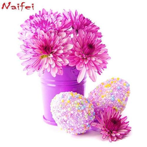 5D Diamond Pink Flowers & Pink Speckled Eggs Kit