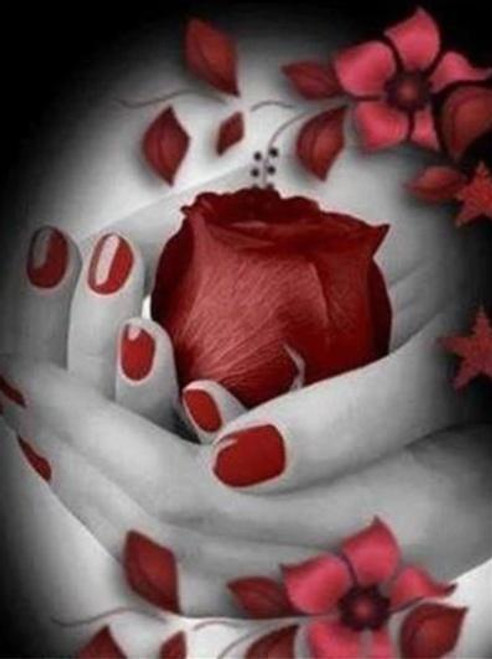 5D Diamond Painting Red Rose in Her Hands Kit