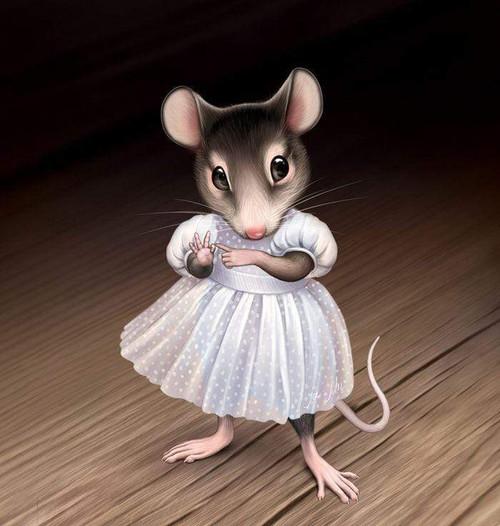 5D Diamond Painting White Dress Mouse Kit