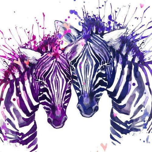 5D Diamond Painting Paint Splatter Purple Zebras Kit
