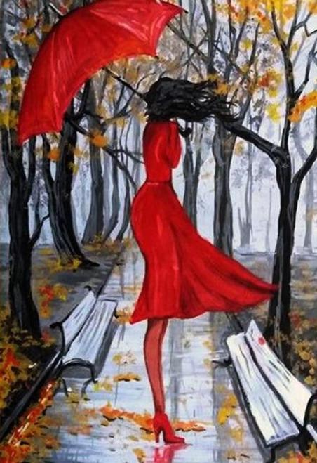 5D Diamond Painting Red Dress & Red Umbrella Woman Kit