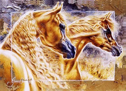 5D Diamond Painting Two Golden Horses Kit