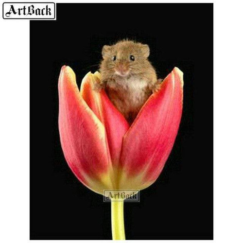 5D Diamond Painting  Mouse in a Tulip Kit