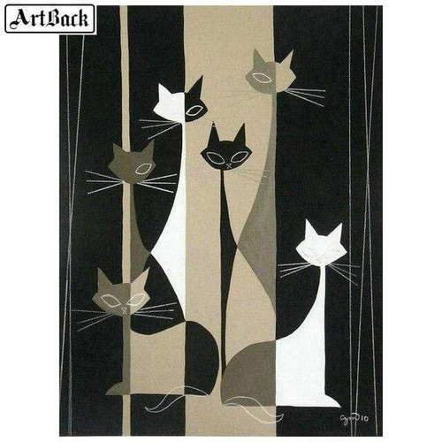 5D Diamond Painting Abstract Siamese Cats Kit