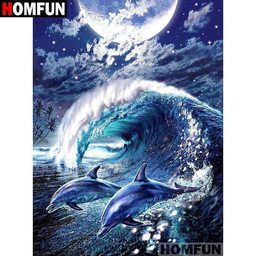 5D Diamond Painting Dolphins Jumping in the Moonlight Kit