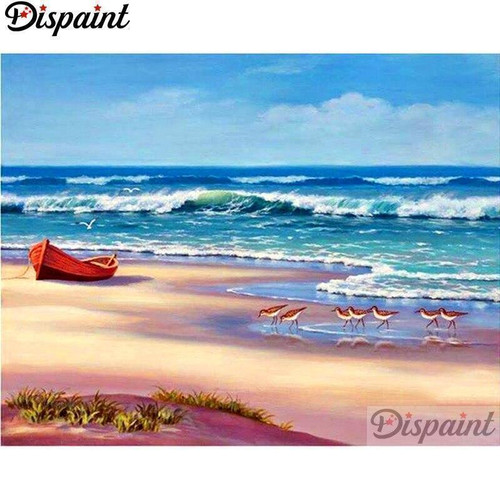 5D Diamond Painting Red Boat on the Shore Kit