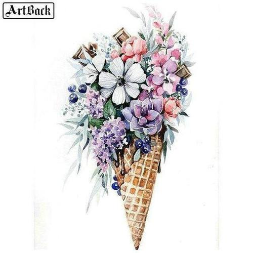 5D Diamond Painting Ice Cream Cone Flowers Kit