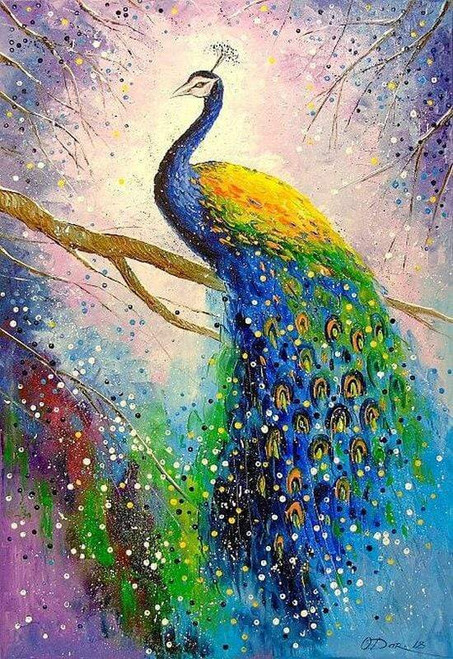 5D Diamond Painting Peacock on a Branch Kit