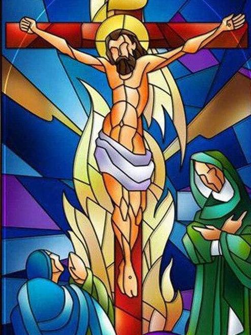 5D Diamond Painting Abstract Jesus on the Cross Kit