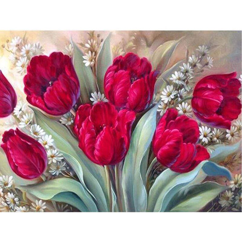 5D Diamond Painting Red Tulips & White Flowers Kit