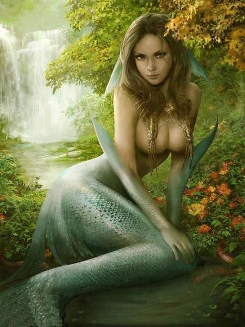 5D Diamond Painting Mermaid by the Falls Kit