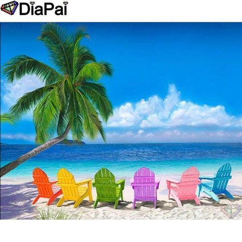 5D Diamond Painting Rainbow Beach Chairs on the Beach Kit