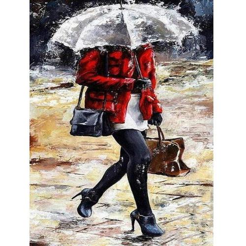 5D Diamond Painting Walking in the Rain Kit