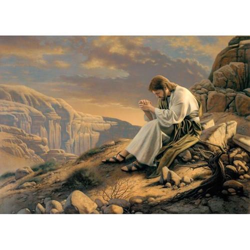 5D  Diamond Painting Jesus Praying on the Mountain Side Kit
