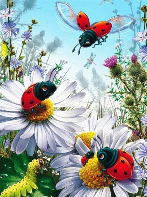 5D Diamond Painting Lady Bugs and Flowers Kit