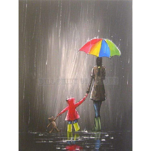 5D Diamond Painting Child, Mother & Teddy Bear Kit