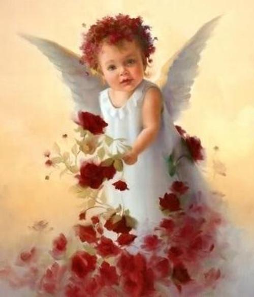 5D Diamond Painting Red Rose Baby Angel Kit