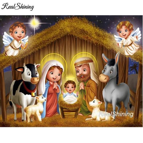 5D Diamond Painting Away in a Manger Nativity Kit