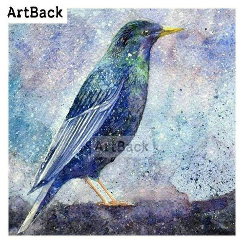 5D Diamond Painting Abstract Blue Green Bird Kit