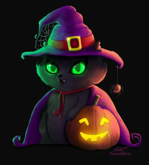5D Diamond Painting Green Eyed Witch Cat Kit