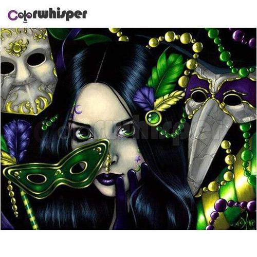 5D Diamond Painting Green Mask Mardi Gras Kit