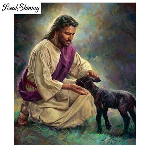 5D Diamond Painting Jesus and a Little Black Lamb Kit