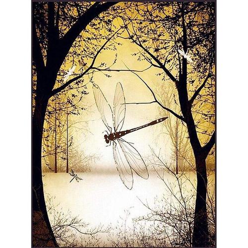 5D Diamond Painting Yellow Sunlight Dragonfly Kit