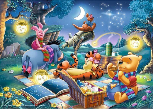 5D Diamond Painting Winnie the Pooh and Friends Nighttime Picnic Kit