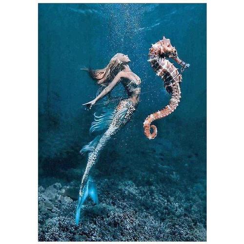 5D Diamond Painting Mermaid and Sea Horse Kit