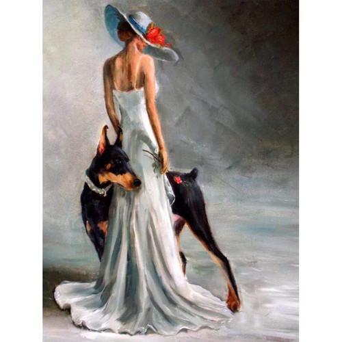 5D Diamond Painting Woman and Doberman Kit