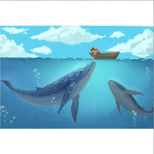 5D Diamond Painting Two Whales and a Boat Kit