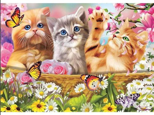 5D Diamond Painting Butterflies and Three Kittens Kit