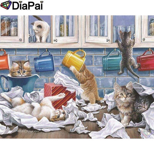 5D Diamond Painting Kittens and Cups Kit