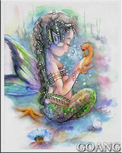 5D Diamond Painting Sea Horse and Little Girl Mermaid Kit