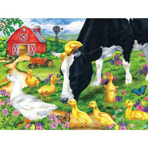 5D Diamond Painting Cow and Yellow Ducklings Kit