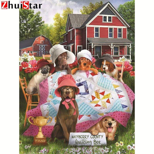 5D Diamond Painting Quilting Dogs Kit
