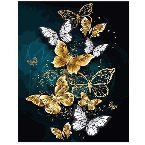 5D Diamond Painting White & Gold Butterflies Kit