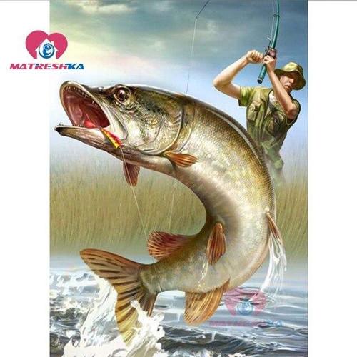5D Diamond Painting Man Fishing Kit