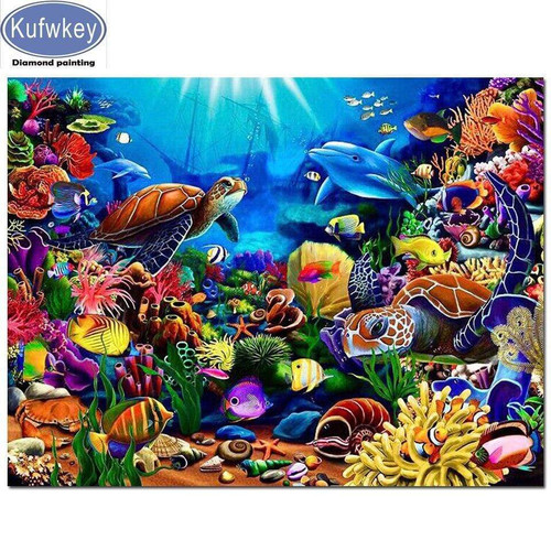 5D Diamond Painting Turtle and Dolphin Underwater Kit
