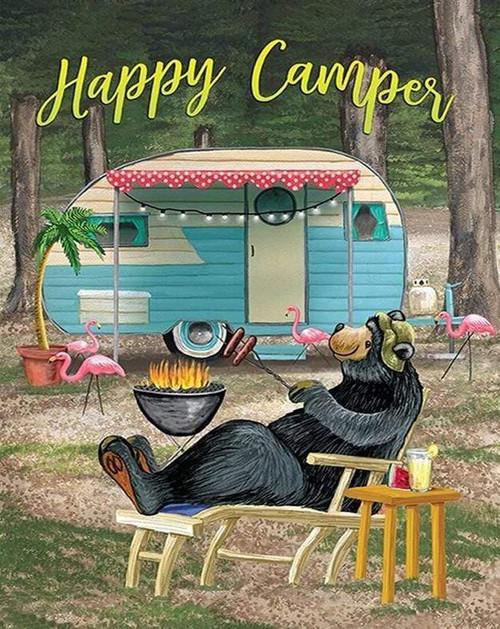 5D Diamond Painting Happy Camper Bear Kit