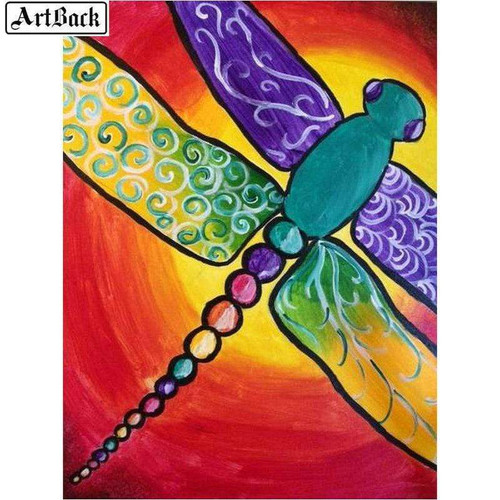 5D Diamond Painting Rainbow Tail Abstract Dragonfly Kit