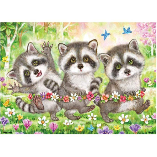 5D Diamond Painting Three Little Raccoons Kit
