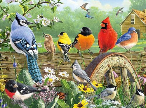 5D Diamond Painting Birds on the Fence Kit