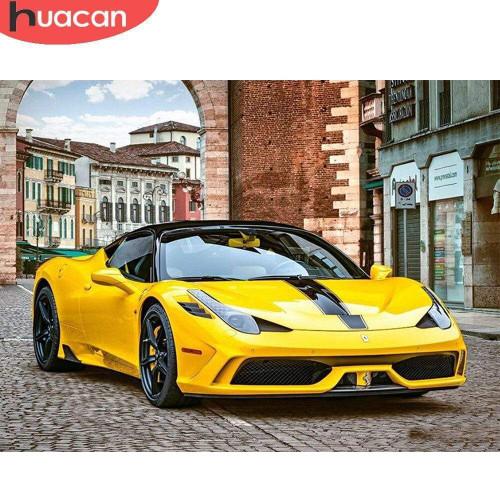 5D Diamond Painting Yellow Fast Car Kit